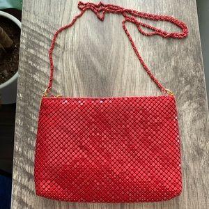Vintage Red Metal Mesh Evening Bag